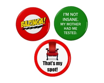 Sheldon Cooper Quotes Badge Set - Pin Back Badge/Fridge Magnet - Big Bang Theory - TV - Comedy