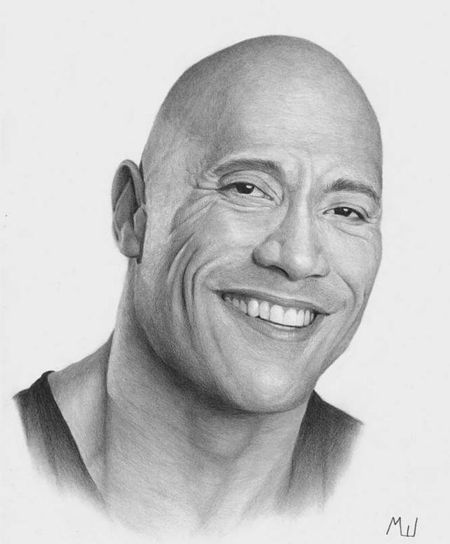 dwayne the rock johnson portrait realistic pencil drawing etsy