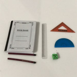 1:6 Scale Dollhouse Miniature Rulers Ruler Stationery pencil classroom school supplies scissors rement