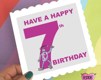 Birthday Card For A 7 Year Old Boy Or Girl Robot Greetings Happy Unisex