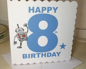 Birthday Card For A 8 Year Old Boy Or Girl Robot Greetings Happy Unisex