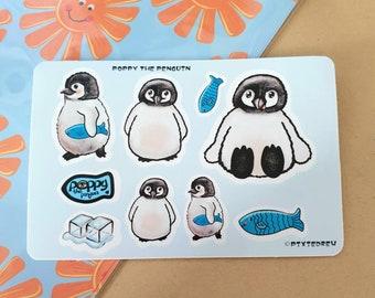 Poppy the penguin Sticker sheet, animal planner sticker set, journal stickers, reward stickers, emperor penguin