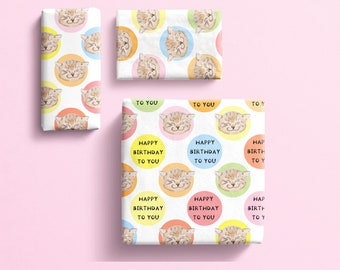 Cat birthday Gift wrap, happy birthday cat wrapping paper,  smiling cat gift wrap, pussy cat, moggy novelty print gift wrap.