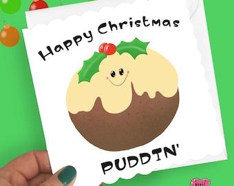 Happy Christmas pudding' card, funny Christmas card with a Christmas pudding