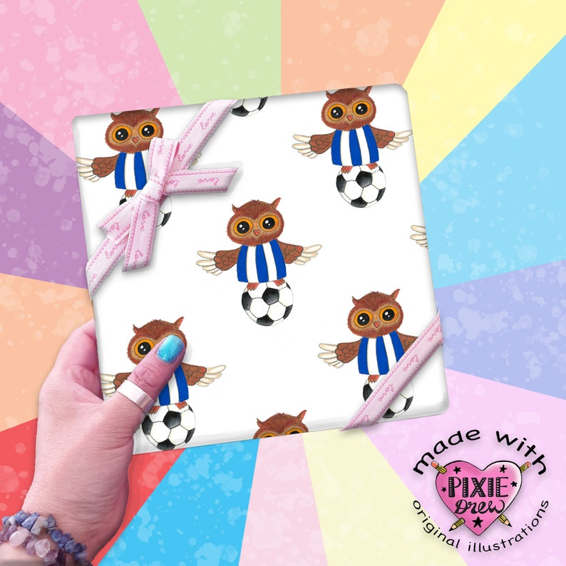 wrapping paper for him Ozzy owl gift wrap Sheffield Wednesday gift wrap owls wrapping paper novelty print gift wrap.