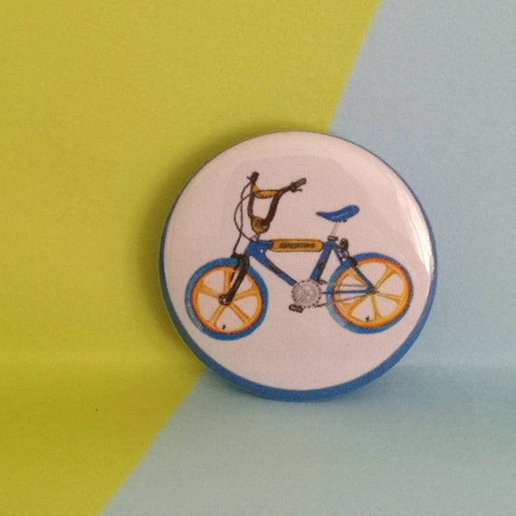 Bicycle road sign Bike retro fun gift Cycling Button Badge 25mm Push