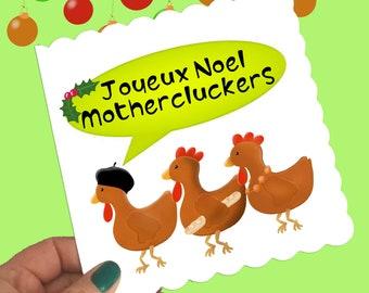 Joyous Noel Christmas card, 3 French hens card, mother clucker Christmas card, funny Christmas card