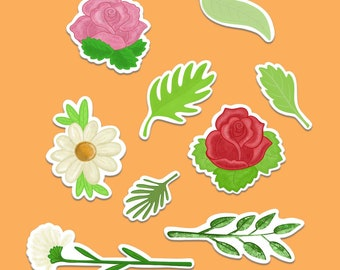 Flower sticker pack, planner sticker set, journal stickers, rose stickers, daisy, rose and leaf stickers set.