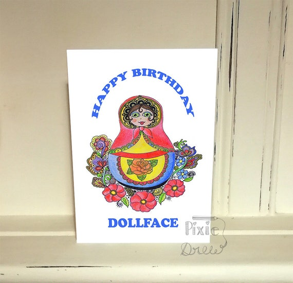 Russian Doll Happy Birthday Card Dollface Greetings