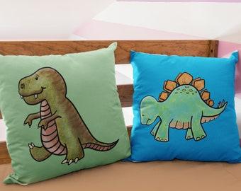Personalised dinosaur cushions, add a name to the stegosaurus or Tyrannosaurus rex pillow
