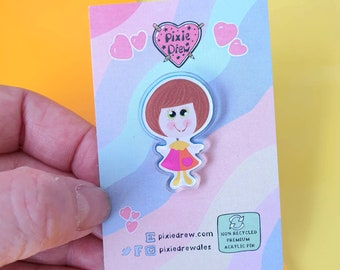 Nostalgic Silly talk doll pin, pull head 1970s talking doll pin badge made from 100% recycled acrylic