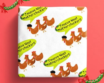 Three French hens Christmas wrapping paper, joyeux noel gift wrap, funny wrapping paper