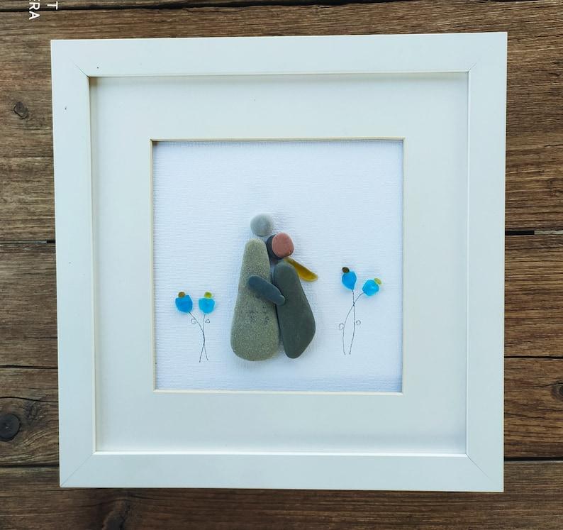 Couple art Pebble art couple birthday couple gift couple gift christmas couple gift anniversary sea glass couple Couple wall art