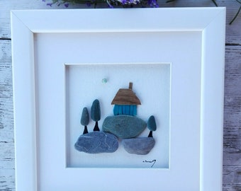 Pebble art beach, beach art, home decor, cottage decor, new home gift, homes picture, pebble picture