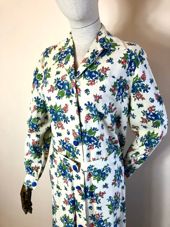 1940's Original Vintage House Coat Dress Floral C… - image 4