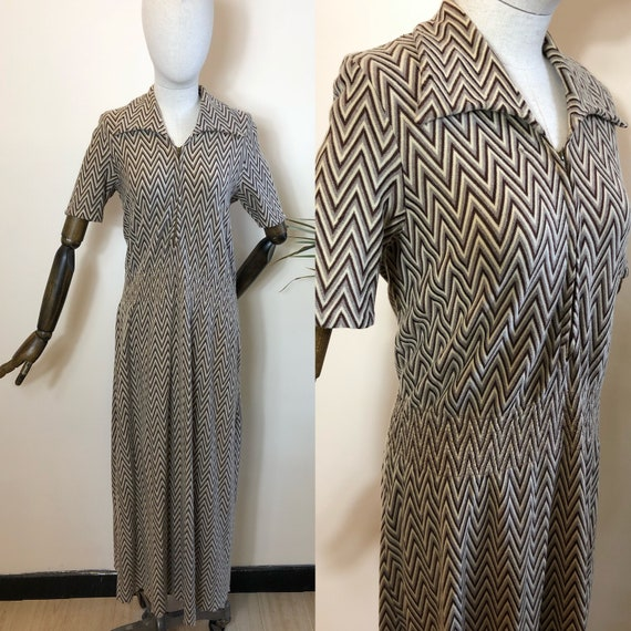 1930's Original Vintage Day Dress Wool Size UK 12/