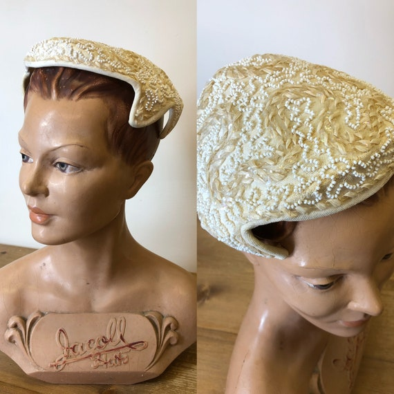 Vintage 1950/'s 1960/'s Hat Off WhiteLight Cream Color Comes With Original Store Receipt Beaded Brooch On The Front