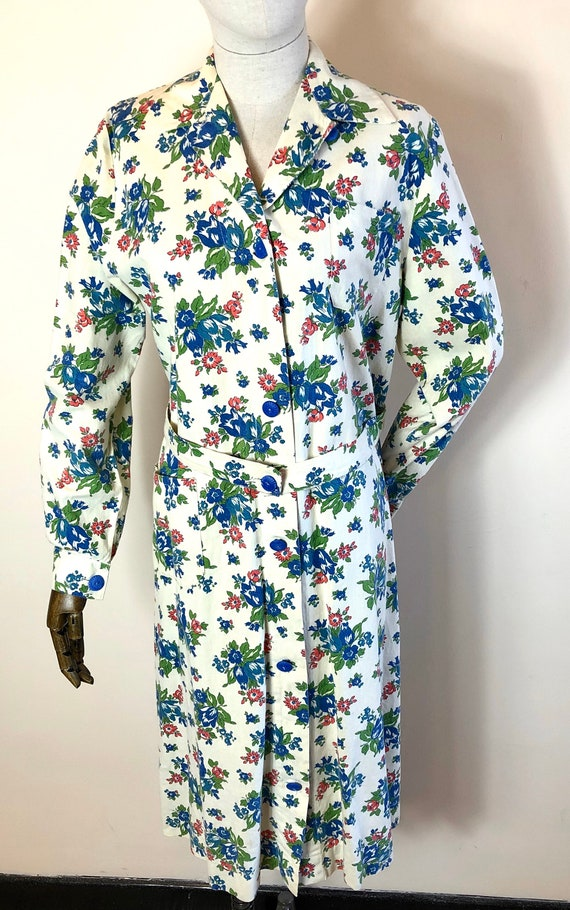 1940's Original Vintage House Coat Dress Floral C… - image 3