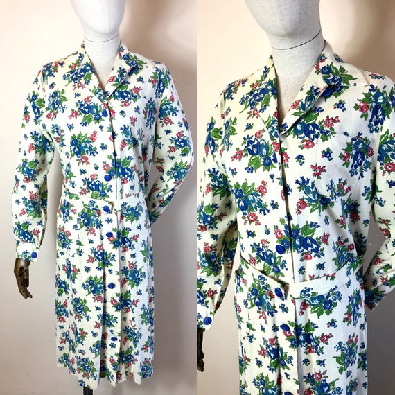 1940's Original Vintage House Coat Dress Floral C… - image 1