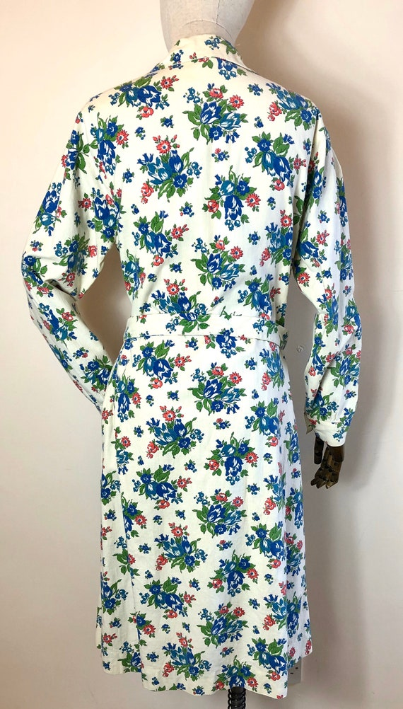 1940's Original Vintage House Coat Dress Floral C… - image 6