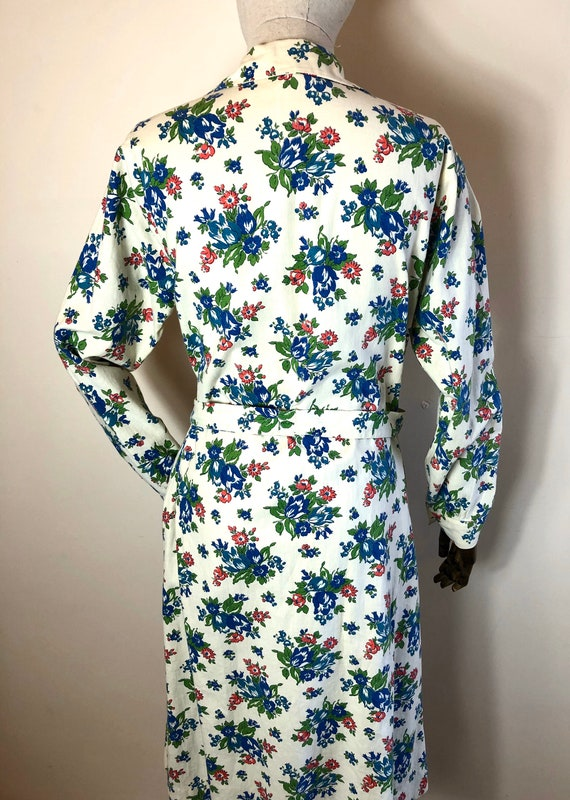 1940's Original Vintage House Coat Dress Floral C… - image 7