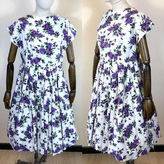 1950's Original Purple Floral Day Dress UK 12-14