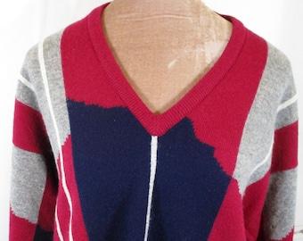 49d89a25d470 1980s Vintage Mens PRINGLE Geometric Knit Jumper XL 48