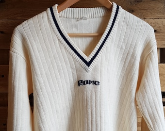 254fb88c4e7 Vintage Mens White Striped Knit Cricket Jumper w  Navy Trim --SMALL--  -Quality Retro Sports Knitwear-