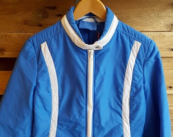 c88002b705 1970s Vintage Womens Blue Ski Jacket --Size 12-- Winter Sports Snowboard  -Quality Retro Fashion-