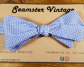 e4691b20592 Gingham Check Mens Bow Tie- Handmade from Reclaimed   Upcycled Vintage  Fabric  Adjustable Size  Self Tie (Not Clip On)