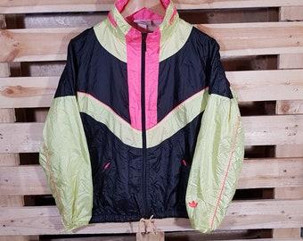 Adidas Jacke Vintage Retro Windbreaker wasserdicht Nylon 90s