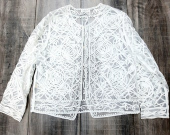 2M Chinese Satin with Cream Pattern Black Stripe Lining Bolero Jacket