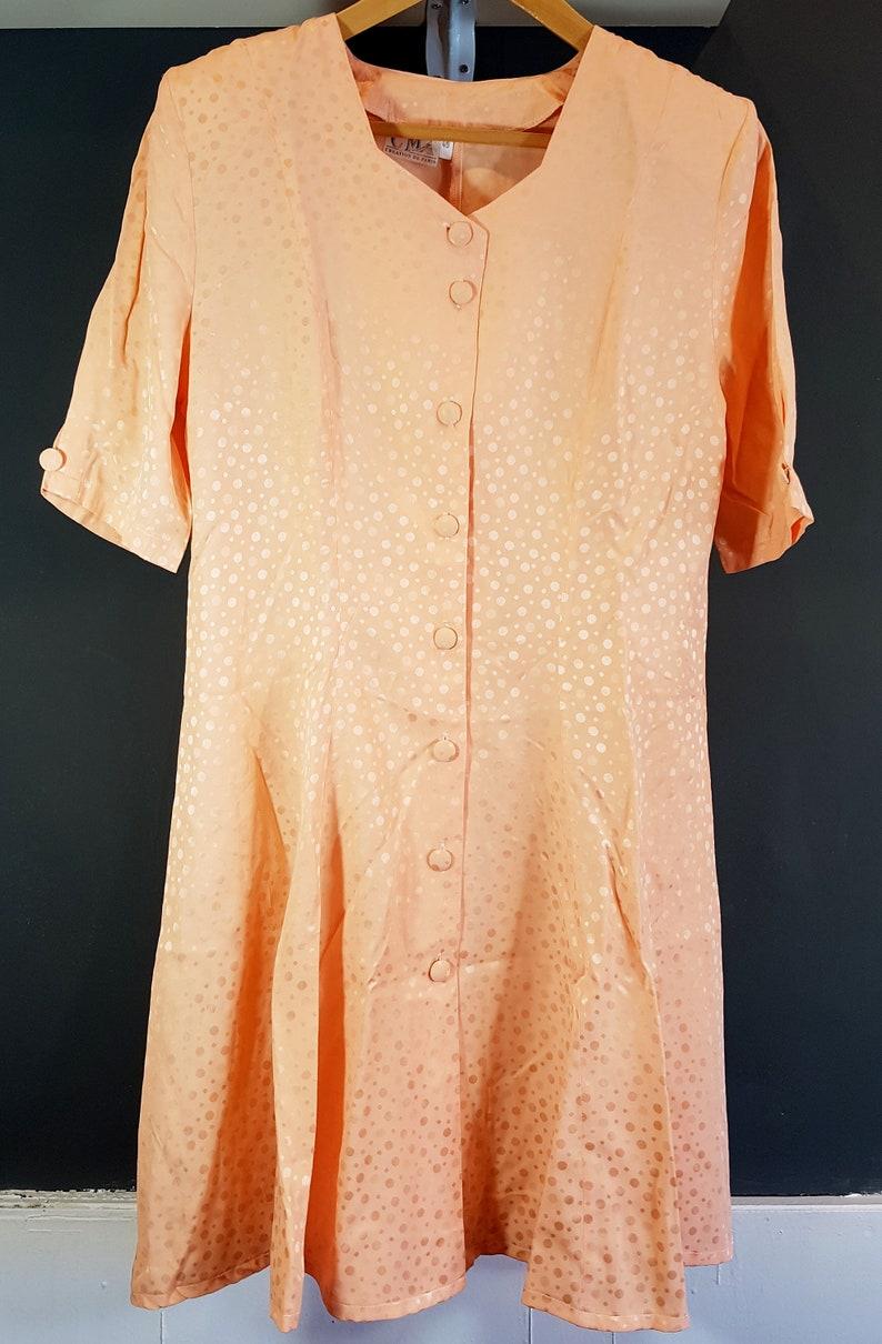 SIZE 12 Quality Retro Fashion- CMA Paris made in France 1980s Vintage Womens Peach Polka Dot Dress