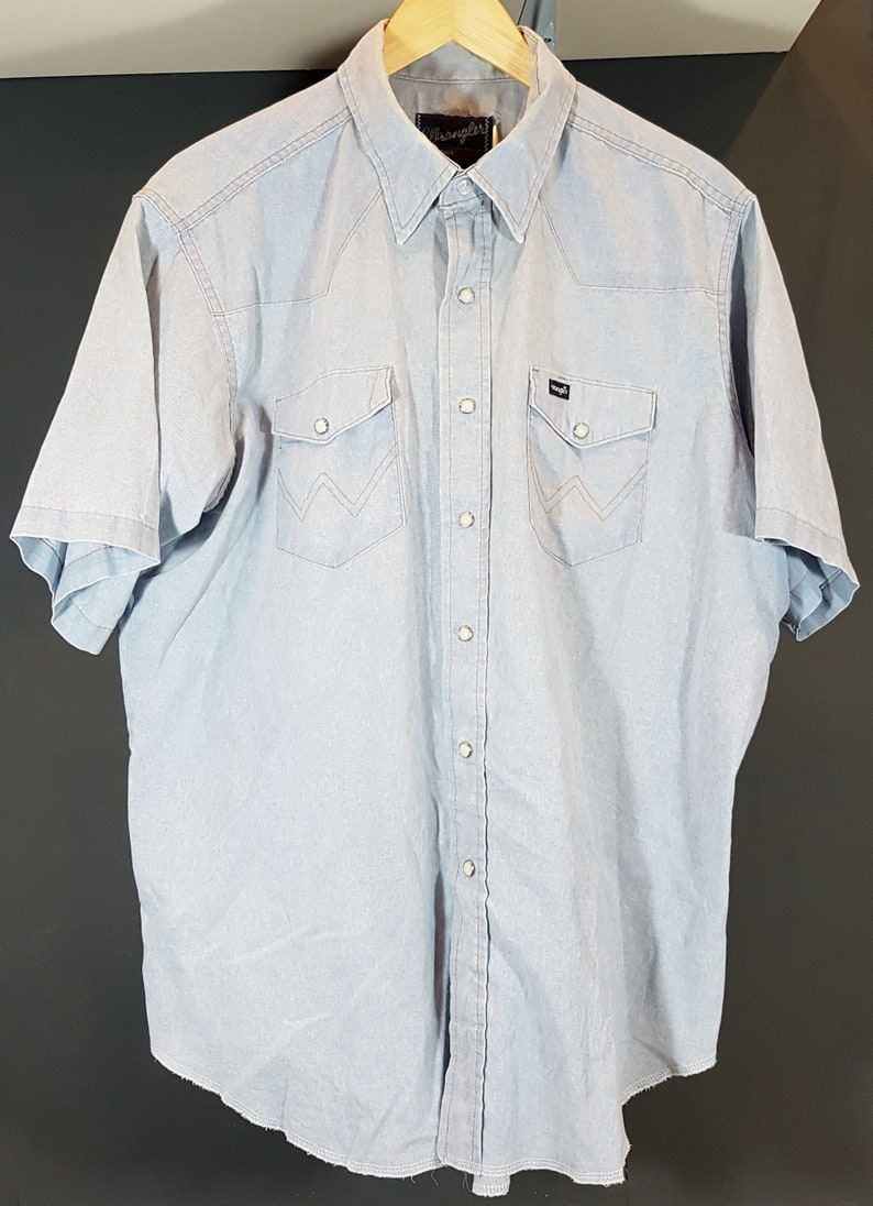 1ac4ebd41ea Wrangler Vintage Mens Denim Western Shirt XL Cowboy Ranch