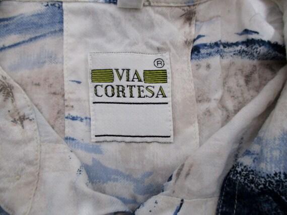 80 s Funky vintages Mens Mens Mens imprimé bleu & blanc chemise hawaïenne XL poitrine 48