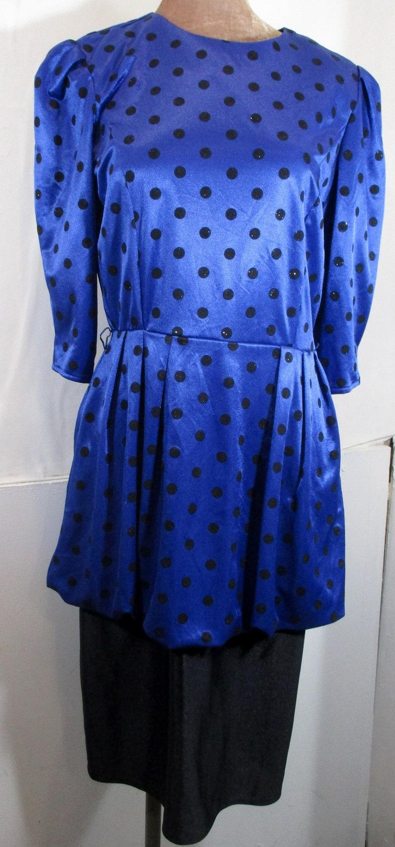 Quality Retro Fashion- Bust 40 1960s Vintage Womens Blue/&Black Glitter Polka dot Dress MEDIUM Size 14 by Yessica