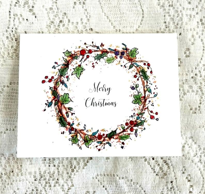 Christmas Wreath Card Holiday Wreath Card Watercolour Etsy