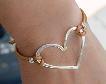 Heart bracelet, Leather bracelet, Genuine leather bracelet with sterling silver heart link, Handmade bracelet, Heart jewelry, Love bracelet