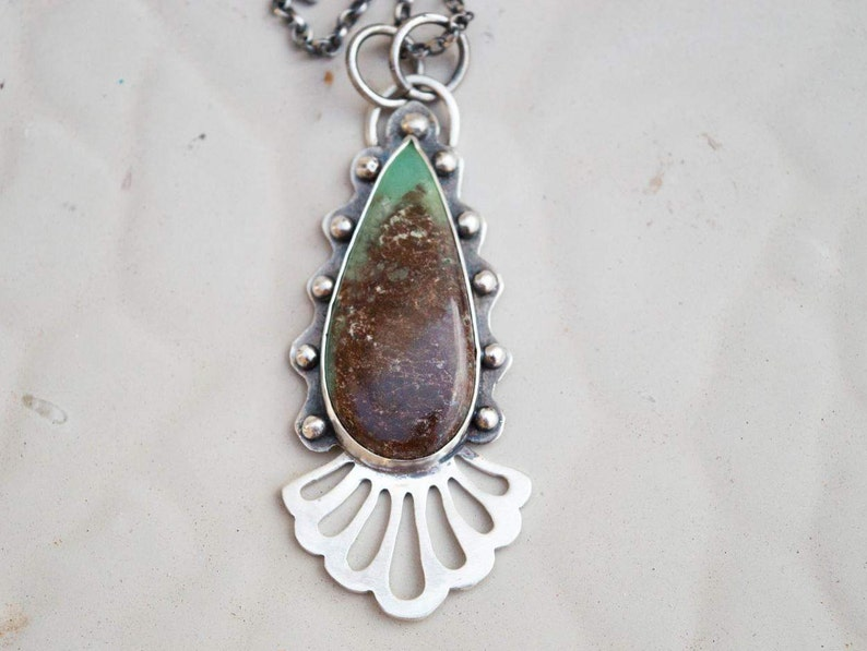 Sterling silver necklace-Gemstone necklace-Artisan necklace-Chrysoprase silver necklace-Contemporary jewelry-Boho necklace-Necklace gemstone