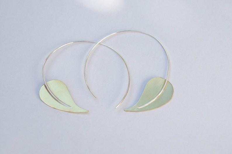 Brass hoop earrings Leaf hoop earring Big hoops