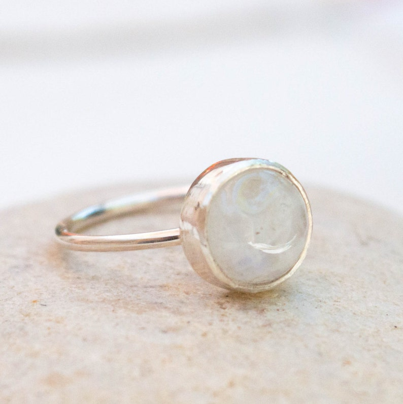 Natural Stone Ring Womens ring Moonstone ring White Stone Ring Sterling silver ring Bezel set gemstone silver ring Stackable ring
