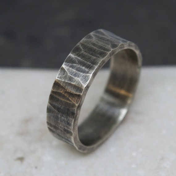 0695f25f28dd0 Sterling silver wedding band - Rustic silver band