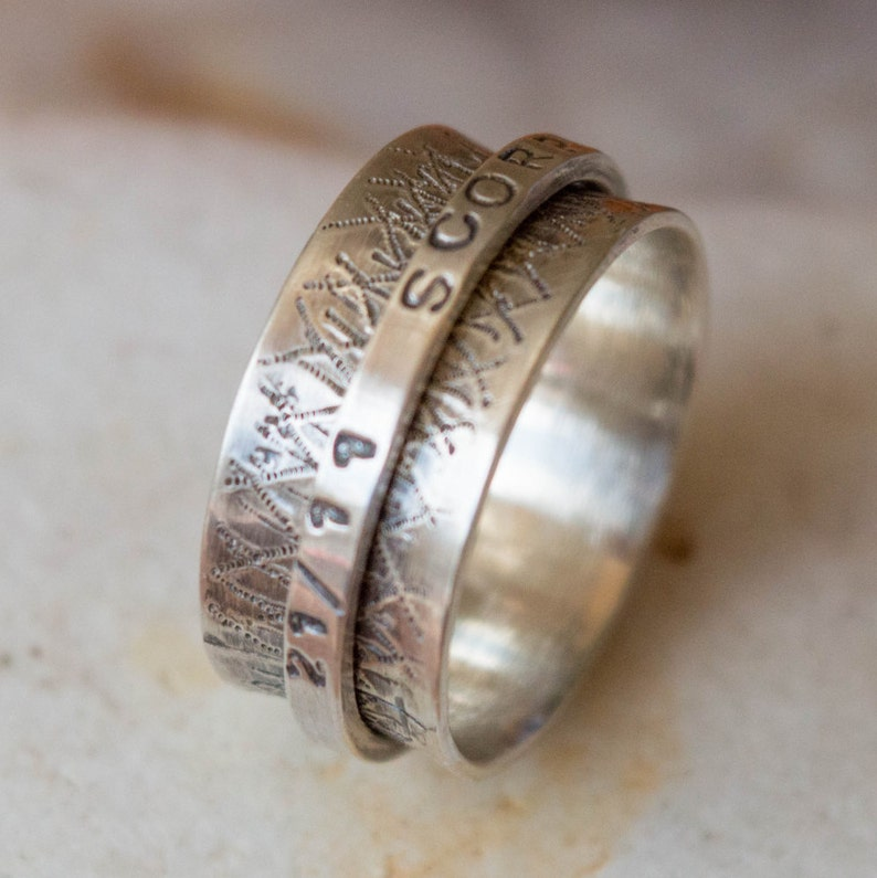 Personalized spinner ring Wide band sterling silver ring Spinner ring