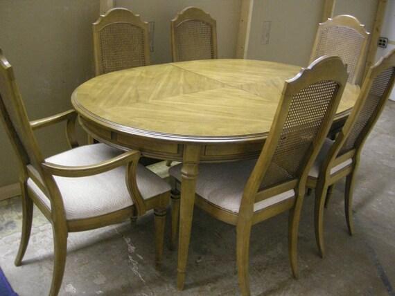 Vintage Drexel Heritage Vintage Dining Table with 3 Extra Leaves