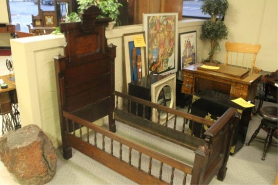 Eastlake Style Antique Wood Wooden Childs Crib Or Bed Headboard And Footboard With Rails