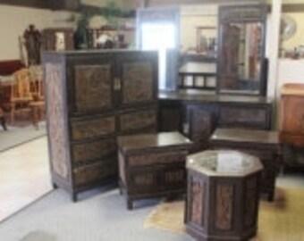 Asian Carved Vintage Bedroom Furniture Set