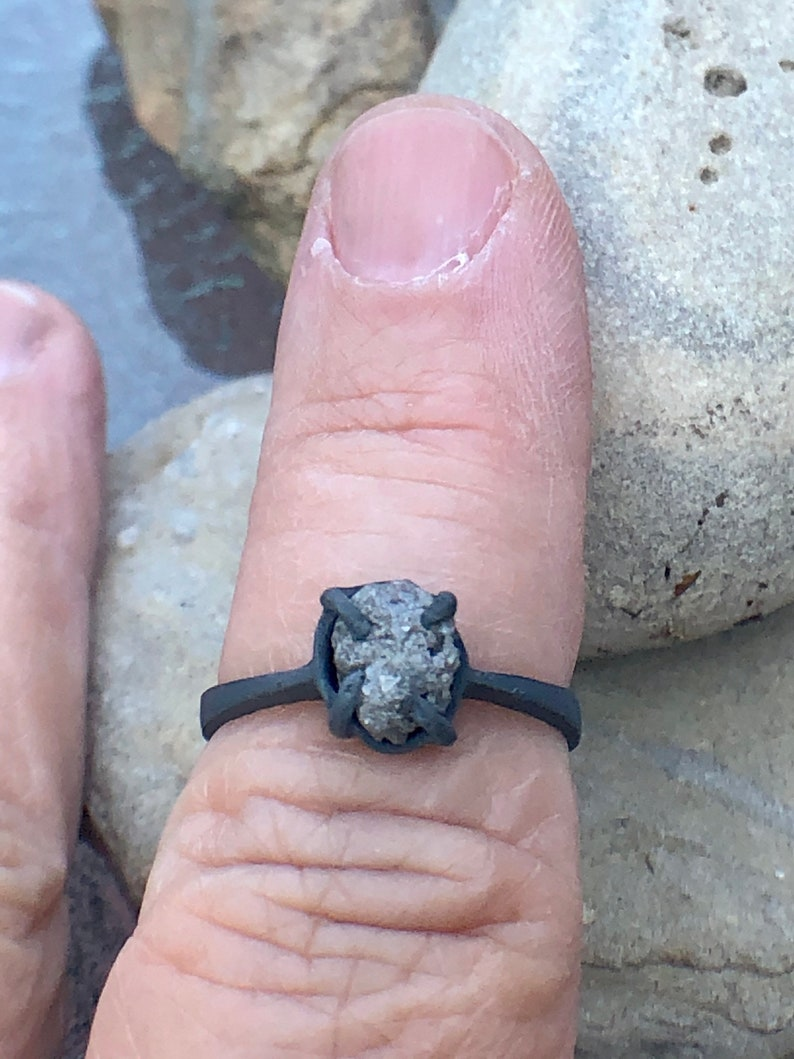 Oval Shaped Rough Raw White Gray Natural Diamond in Dark Black Oxidized and Texturized Silver Size 6.75 Engagement Promise Wedding Ring