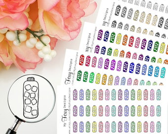 Doodle Water Bottle with Ice, Fitness, Health, Doodle Stickers, Planner Stickers perfect for any planner   [00405]