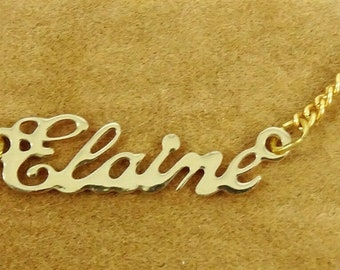 Personalised Bridesmaid Christmas 18K Gold Plated Necklace With Name ELAINE