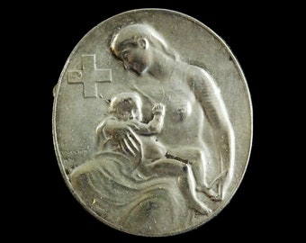 Mettler Huguenin Beautiful vintage open worked detailed silver plated pendant of Vita Mea Evangelium Domini K